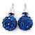 10mm Sapphire Blue Crystal Ball Stud Earrings In Silver Tone - view 3