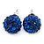 10mm Sapphire Blue Crystal Ball Stud Earrings In Silver Tone - view 4