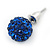 10mm Sapphire Blue Crystal Ball Stud Earrings In Silver Tone - view 5