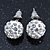 10mm White Crystal Ball Stud Earrings In Silver Tone