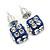 Blue Enamel, Clear Crystal Dice Earrings In Silver Tone Metal - 7mm Diameter - view 2