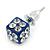 Blue Enamel, Clear Crystal Dice Earrings In Silver Tone Metal - 7mm Diameter - view 3