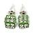 Light Green Enamel, Clear Crystal Dice Earrings In Silver Tone Metal - 7mm Diameter
