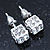 White Enamel, Clear Crystal Dice Earrings In Silver Tone Metal - 7mm Diameter