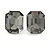 Grey Glass Square Stud Earrings In Silver Tone - 10mm Length