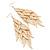 Long Wing Chandelier Earrings In Gold Plating - 13cm Length