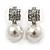 Bridal/ Prom/ Wedding Diamante 10mm White, Faux Pearl Stud Earrings In Rhodium Plating - 20mm L - view 7