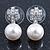 Bridal/ Prom/ Wedding Diamante 10mm White, Faux Pearl Stud Earrings In Rhodium Plating - 20mm L - view 2