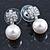 Bridal/ Prom/ Wedding Diamante 10mm White, Faux Pearl Stud Earrings In Rhodium Plating - 20mm L