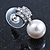 Bridal/ Prom/ Wedding Diamante 10mm White, Faux Pearl Stud Earrings In Rhodium Plating - 20mm L - view 5