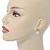 Bridal/ Prom/ Wedding Diamante 10mm White, Faux Pearl Stud Earrings In Rhodium Plating - 20mm L - view 3