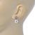 Bridal/ Prom/ Wedding Diamante 10mm White, Faux Pearl Stud Earrings In Rhodium Plating - 20mm L - view 4