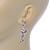 Pink Crystal Fairy Drop Earrings In Rhodium Plating - 45mm L - view 3