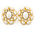 Large Oval Crystal, White Acrylic Bead Stud Earrings In Gold Plating - 35mm L