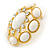 Large Oval Crystal, White Acrylic Bead Stud Earrings In Gold Plating - 35mm L - view 3
