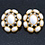 Large Oval Crystal, White Acrylic Bead Stud Earrings In Gold Plating - 35mm L - view 5