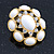 Large Oval Crystal, White Acrylic Bead Stud Earrings In Gold Plating - 35mm L - view 7