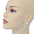 Large Oval Crystal, White Acrylic Bead Stud Earrings In Gold Plating - 35mm L - view 2