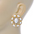 Large Oval Crystal, White Acrylic Bead Stud Earrings In Gold Plating - 35mm L - view 6