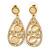 Bridal/ Wedding/ Prom Crystal Teardrop Earrings In Gold Tone - 53mm L