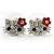 Small Children's/ Teen's / Kid's Crystal 'Kitty' Stud Earrings In Silver Tone - 15mm W