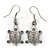 Silver Tone Etched Turtle Drop Earrings - 35mm L