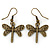 Bronze Tone Etched Dragonfly Drop Earrings - 37mm L