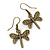Bronze Tone Etched Dragonfly Drop Earrings - 37mm L - view 4
