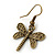 Bronze Tone Etched Dragonfly Drop Earrings - 37mm L - view 5