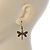 Bronze Tone Etched Dragonfly Drop Earrings - 37mm L - view 3