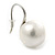 12mm Bridal/ Wedding Lustrous White Round Pearl Style Earrings In Silver Tone - 24mm L - view 7