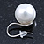 12mm Bridal/ Wedding Lustrous White Round Pearl Style Earrings In Silver Tone - 24mm L - view 9