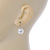 12mm Bridal/ Wedding Lustrous White Round Pearl Style Earrings In Silver Tone - 24mm L - view 6