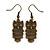 Bronze Tone Owl Drop Earrings - 40mm L