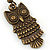 Bronze Tone Owl Drop Earrings - 40mm L - view 4