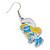 White/ Blue/ Yellow Enamel Funky Smurfette Cartoon Drop Earrings In Silver Tone - 48mm L - view 4