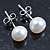 7mm White Off-Round Cultured Freshwater Pearl Stud Earrings 925 Sterling Silver