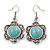 Vintage Inspired Floral Turquoise Floral Drop Earrings In Antique Silver Tone - 45mm L