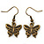 Bronze Tone Small Butterfly Drop Earrings - 30mm L - view 1