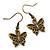 Bronze Tone Small Butterfly Drop Earrings - 30mm L - view 5