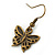 Bronze Tone Small Butterfly Drop Earrings - 30mm L - view 4