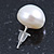 10mm White Off-Round Cultured Freshwater Pearl Stud Earrings In Silver Tone - view 4