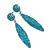 Teal Blue Austrian Crystal Leaf Drop Earrings In Rhodium Plating - 65mm L - view 8
