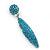 Teal Blue Austrian Crystal Leaf Drop Earrings In Rhodium Plating - 65mm L - view 10