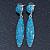 Teal Blue Austrian Crystal Leaf Drop Earrings In Rhodium Plating - 65mm L - view 7