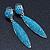 Teal Blue Austrian Crystal Leaf Drop Earrings In Rhodium Plating - 65mm L - view 2