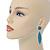 Teal Blue Austrian Crystal Leaf Drop Earrings In Rhodium Plating - 65mm L - view 3
