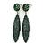 Green Austrian Crystal Leaf Drop Earrings In Rhodium Plating - 65mm L