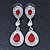 Bridal/ Wedding/ Prom Red/ Clear CZ Teardrop Earrings In Rhodium Plating - 50mm L - view 7