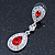 Bridal/ Wedding/ Prom Red/ Clear CZ Teardrop Earrings In Rhodium Plating - 50mm L - view 8